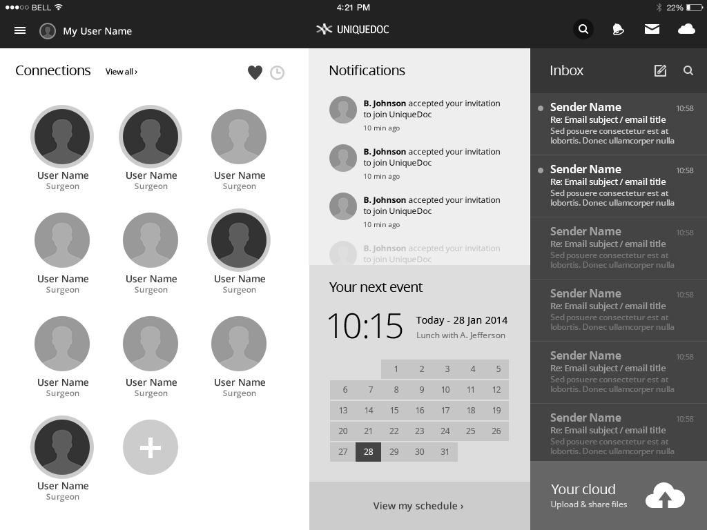 uniquedoc ipad dashboard wireframe - Ipad App Wireframe